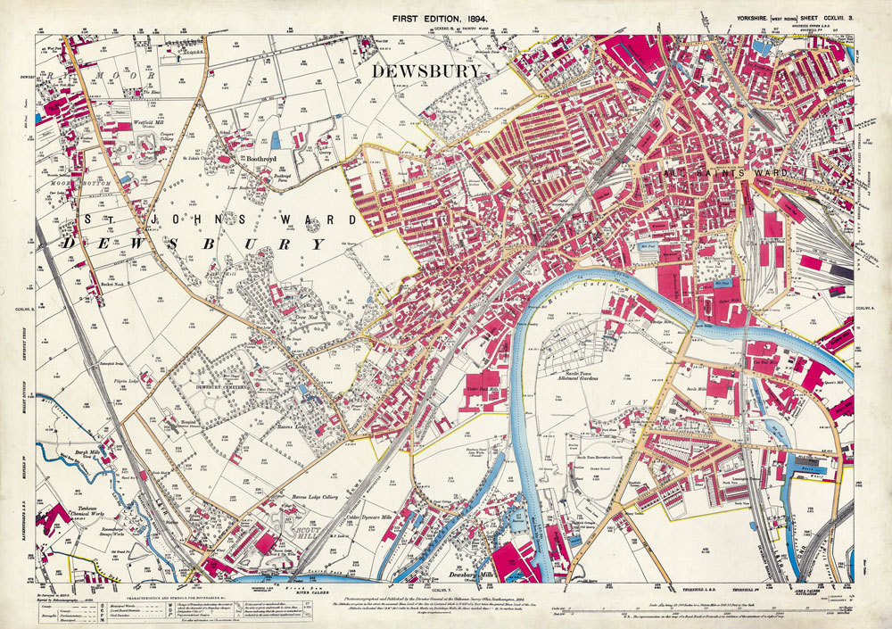 Yorkshire CCXLVII.3 (Dewsbury) Surveyed: 1888 to 1889 Published: 1894