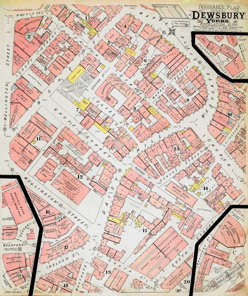 Insurance Plan of Dewsbury 1887.